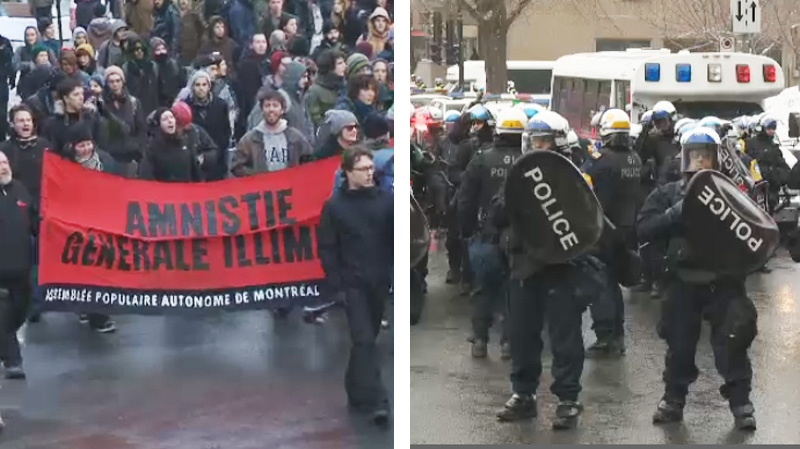 Anti P-6 protesters faced off with police at a demonstration in front of City Hall Monday,  but the tense standoff ended peacefully. (Images: CTV Montreal)