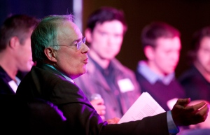 Ken Dryden talks during a panel discussion at a sports concussion symposium in Calgary on April 22, 2013. (Larry MacDougal/ THE CANADIAN PRESS)