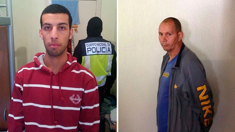 These two photos released by the Spanish Interior Ministry on Tuesday April 23, 2013, shows two suspects identified as Nou Mediouni, left, and Hassan El Jaaouani in this photo composite. (Spanish Interior Ministry)