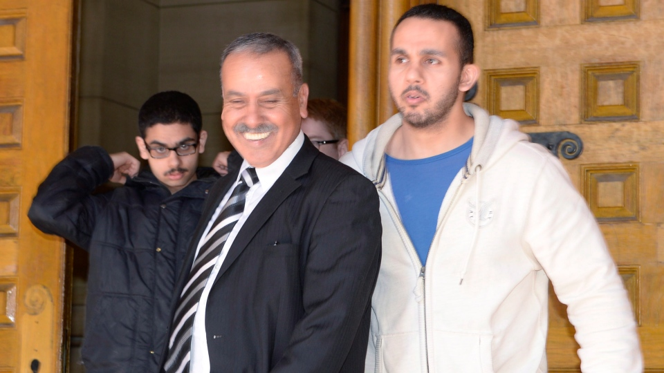 Family members of Raed Jaser leave court in Toronto on Tuesday, April 23, 2013. (Frank Gunn / THE CANADIAN PRESS)