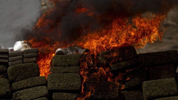 Seized narcotics burn on the outskirts of Tijuana, Mexico, Wednesday Sept. 22, 2010. (AP Photo/Guillermo Arias)