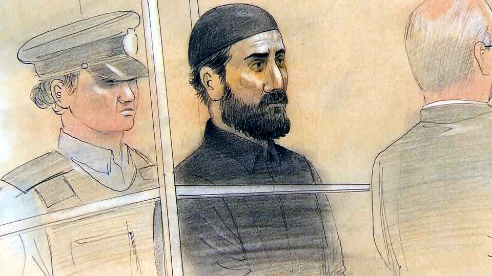 Raed Jaser, 35, appears at Old City Hall courts in Toronto, as seen in this artist's rendition, Tuesday, April 23, 2013. (John Mantha / CTV Toronto)