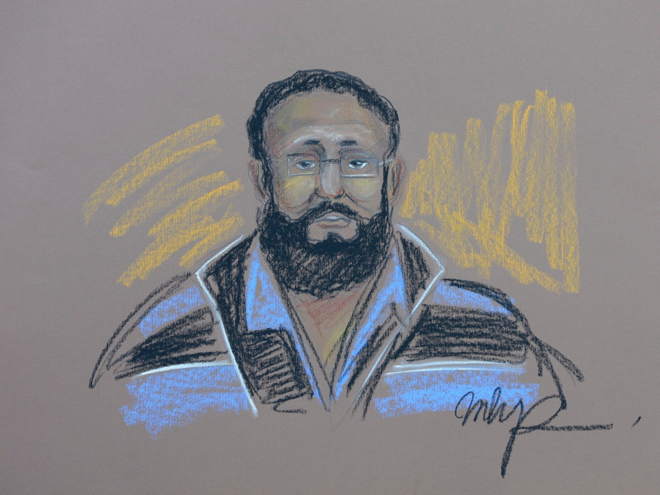Chiheb Esseghaier appears in court in Montreal on Tuesday, April 23, 2013 in this artist's sketch. (MHP / THE CANADIAN PRESS)