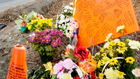 A roadside memorial for 52-year-old Terry Mitchell of Pitt Meadows is seen in a photo courtesy of The Langley Times.