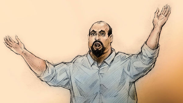 In this courtroom sketch, Shareef Abdelhaleem is seen during his emotional address to the court at the Ontario Court of Justice courthouse in Brampton, Ont., Friday, March 4, 2011. (Alex Tavshunsky for CTV News)