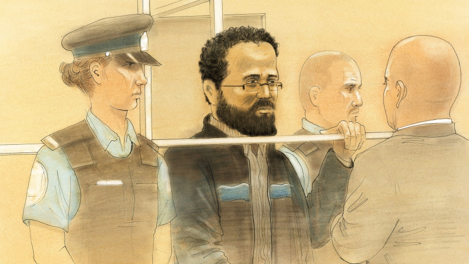 Chiheb Esseghaier makes a brief court appearance at Toronto's Old City Hall on Wednesday, April 24, 2013.