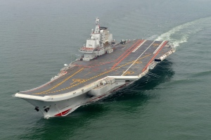 Chinese aircraft carrier Liaoning cruises for a test on the sea in this May 2012 file photo. (Xinhua, Li Tang)