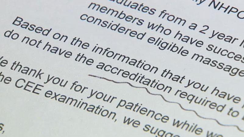Some major insurance companies have begun refusing claims from therapists who have less than 2,200 hours of formal training. Therapists now must go back to school or take an equivalency exam to prove accreditation. Some therapists with years of work experience are exempt - however the exemption does not apply to those who trained outside of Canada.