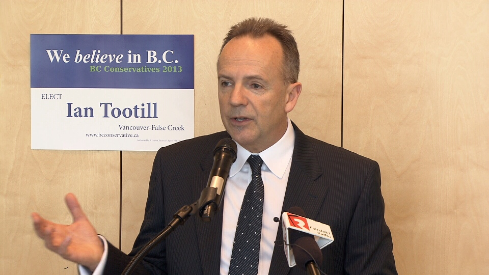 BC Conservatives candidate for Vancouver-False Creek Ian Tootill speaks during the 2013 elections campaign. (CTV)