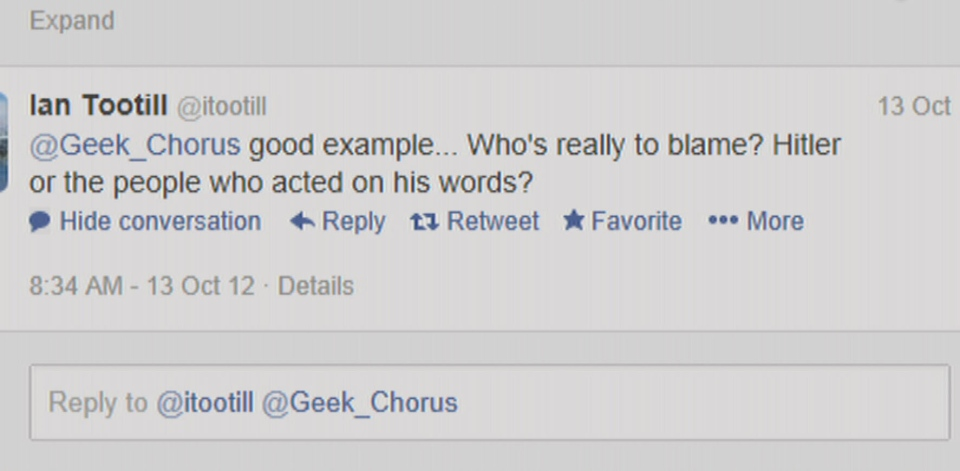 A screen shot of a tweet from Ian Tootill's Twitter account on Oct 13, 2012.