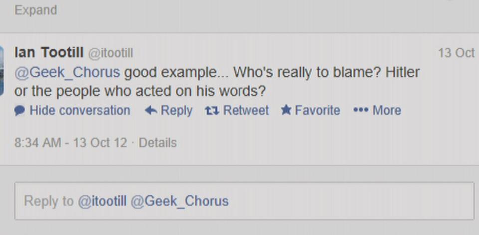 A screen shot of a tweet from Ian Tootill's Twitter account on Oct 13, 2012.