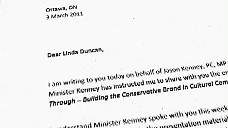 This image taken from video shows a copy of the letter that was accidentally mailed to New Democrat MP Linda Duncan.