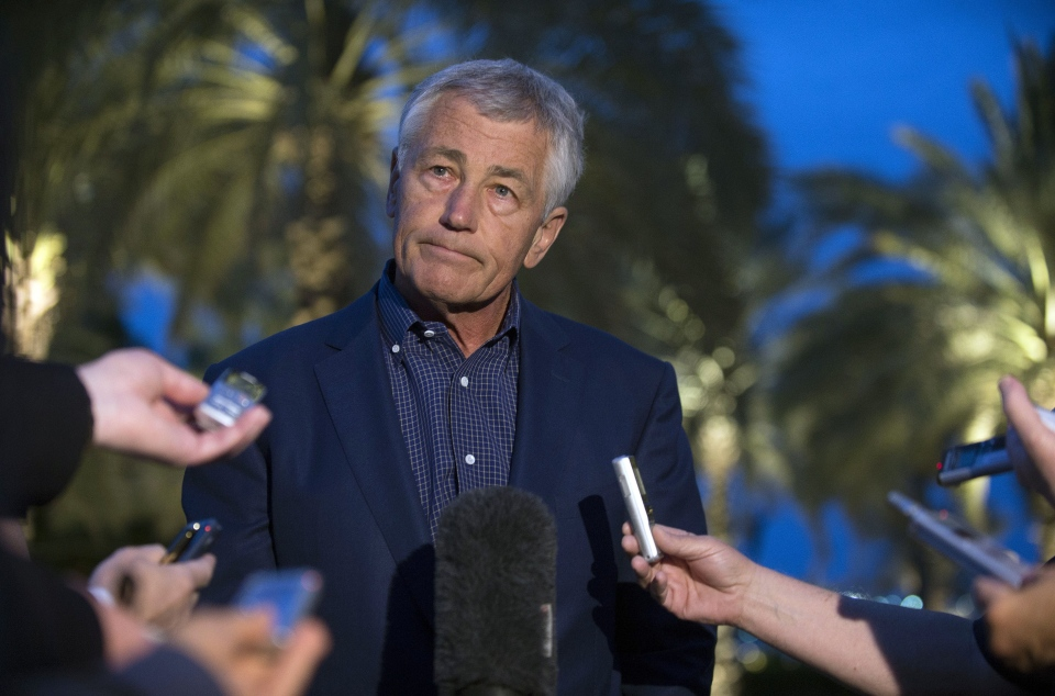 U.S. Secretary of Defence Chuck Hagel speaks with reporters after reading a statement on chemical weapon use in Syria during a press conference in Abu Dhabi, United Arab Emirates on Thursday, April 25, 2013. (AP / Jim Watson)