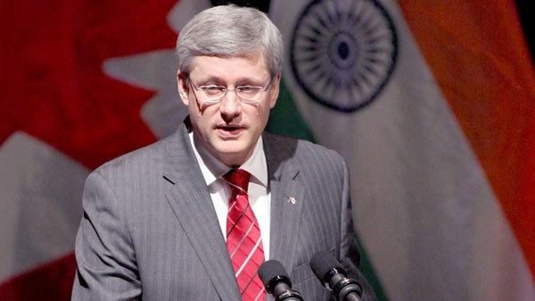 "Prime Minister Stephen Harper speaks at the launch of the ""Year of India in Canada 2011"" at the Museum of Civilization in Gatineau, Que., on Friday, March 4, 2011. (Patrick Doyle / THE CANADIAN PRESS)"
