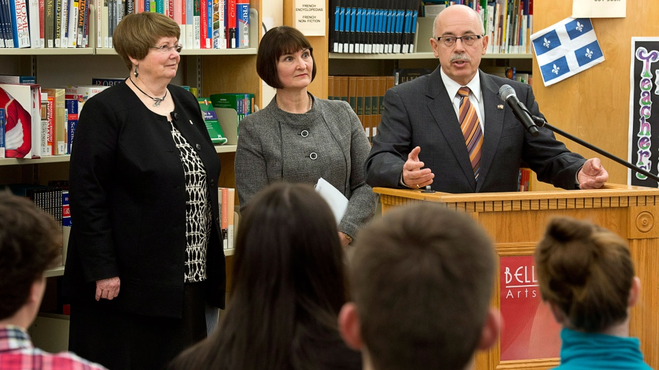 Status of Women Minister Marilyn More, Education Minister Ramona Jennex and Justice Minister Ross Landry, left to right, address students at Halifax West High School in Halifax on Thursday, April 25, 2013. (Andrew Vaughan / THE CANADIAN PRESS)