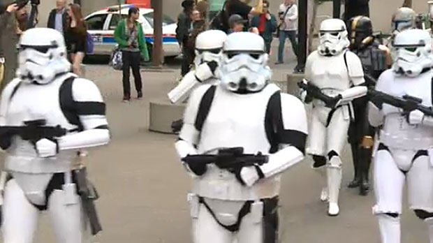 Imperial Stormtroopers, iconic characters from the Star Wars movies, marched in formation as part of the Calgary Comic Expo's parade.