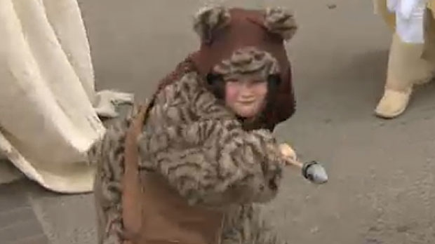 The parade was even a great time for younger kids, like this boy sporting a fantastic Ewok costume.