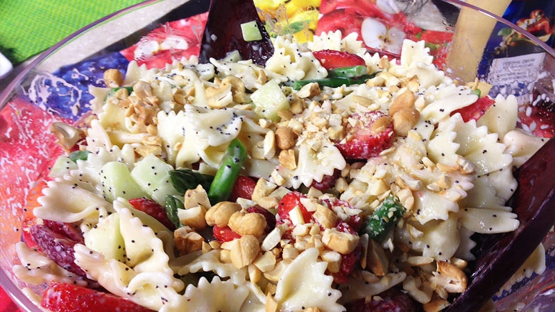 Springtime Pasta Salad with Strawberries by Barbara Barnes with Sobeys.