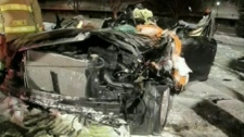 Two people were killed when their vehicle rolled about 100 metres on Colonel By Drive, Saturday, March 5, 2011.