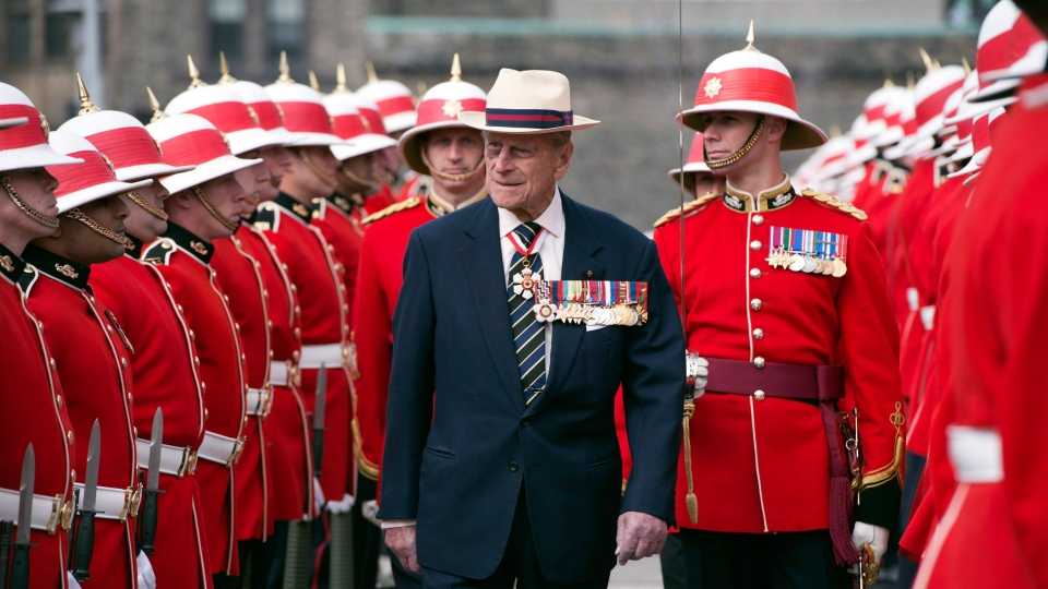 Prince Philip inspects an honour guard from the 3rd Battalion of The Royal Canadian Regiment in Toronto on April 27, 2012. (Frank Gunn / THE CANADIAN PRESS)