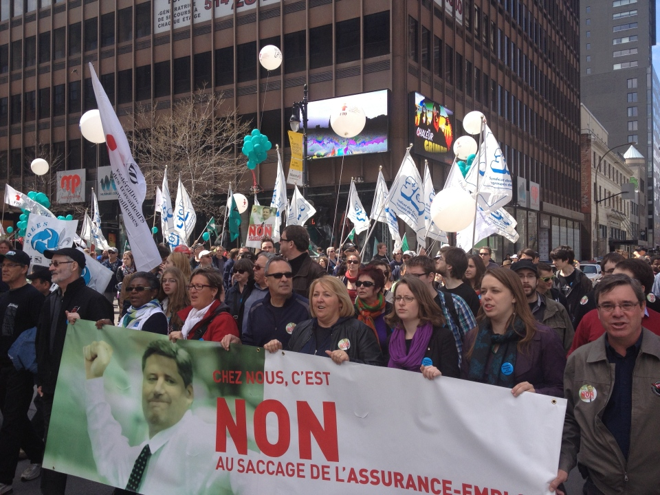 Protesters take to streets of Montreal over PM Stephen Harper's EI reform (courtesy of Kevin Gallagher/CTV)
