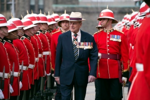 In a ceremony marking the 200th anniversary of the Battle of York, a key battle of the War of 1812, Prince Philip presented a new regimental flag to the Petawawa-based Third Battalion of the Royal Canadian Regiment in Toronto.<br><br>HRH Prince Philip inspects an honour guard from the 3rd Battalion of The Royal Canadian Regiment at the Ontario Legislature in Toronto on Saturday April 27, 2012. (Frank Gunn / THE CANADIAN PRESS)