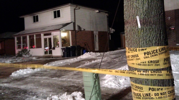 Police tape surrounds 73 Humber College Boulevard late Sunday, March 3, 2011. (Tom Stefanac / CTV News)