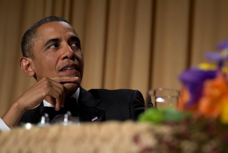 U.S. President Barack Obama looks to the podium during the White House Correspondents' Association Dinner at the Washington Hilton Hotel, in Washington on Saturday, April 27, 2013. (AP / Carolyn Kaster)