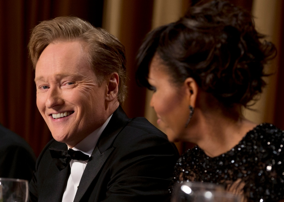 First lady Michelle Obama, right, and late-night television host Conan O'Brien attend the White House Correspondents' Association Dinner at the Washington Hilton Hotel, in Washington on Saturday, April 27, 2013. (AP / Carolyn Kaster)