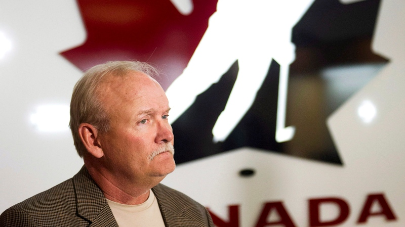 Lindy Ruff looks on during a Hockey Canada press conference naming him as head coach for the 2013 IIHF World Hockey Championship team in Calgary, Alberta on Wednesday, April 17, 2013. (THE CANADIAN PRESS / Larry MacDougal)