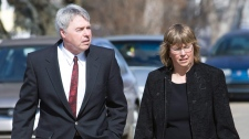 Robert Latimer and his wife Laura attend the funeral of his mother in Wilkie, Sask., Thursday, March 27, 2008. (Geoff Howe / THE CANADIAN PRESS)