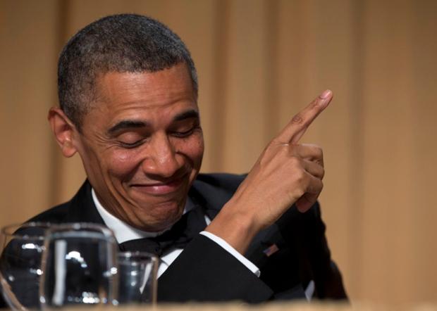 Obama has a laugh