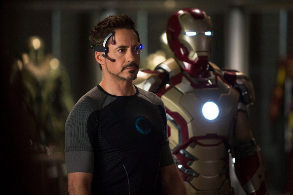 "This undated publicity image released by Marvel shows Robert Downey Jr., as Tony Stark/Iron Man, in a scene from ""Marvel's Iron Man 3."" ""Marvel's Iron Man 3"" was one of several upcoming films to receive spotlight treatment with an ad that aired during Super Bowl XLVII on Sunday, Feb. 3, 2013. (AP /Marvel / Zade Rosenthal)"