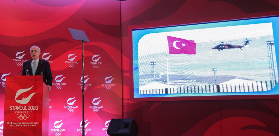 Istanbul Governor Huseyin Avni Mutlu speaks about his city's bid to host the 2020 Olympics during a news conference in Istanbul, Turkey, Wednesday, March 27, 2013.  (AP Photo)