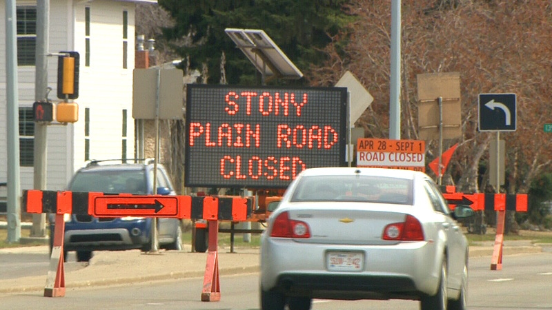 The city has closed the Groat Road Bridge on Stony Plain Road between April 28 and September 1, for bridge maintenance and upgrading work.