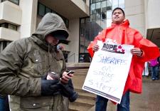 Alberta sheriffs take part in a strike