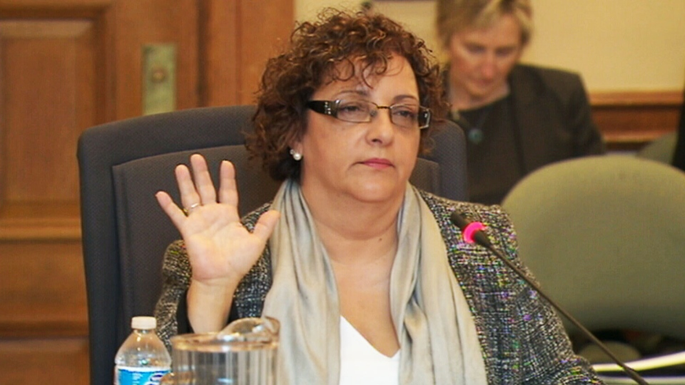 Marchese Hospital Solutions president Marita Zaffiro testifiies before an Ontario legislative committee in Toronto on Monday, April 29,  2013.