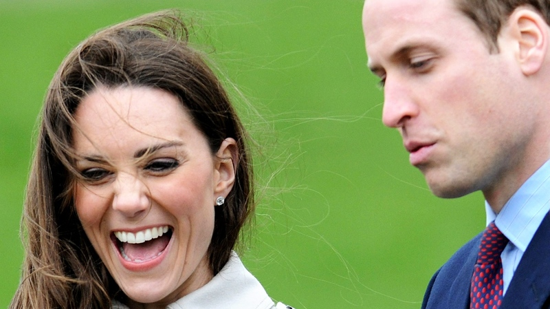 Kate Middleton laughs during a visit to Antrim, Northern Ireland, with Britain's Prince William, Tuesday March 8, 2011.(AP / Michael Cooper)