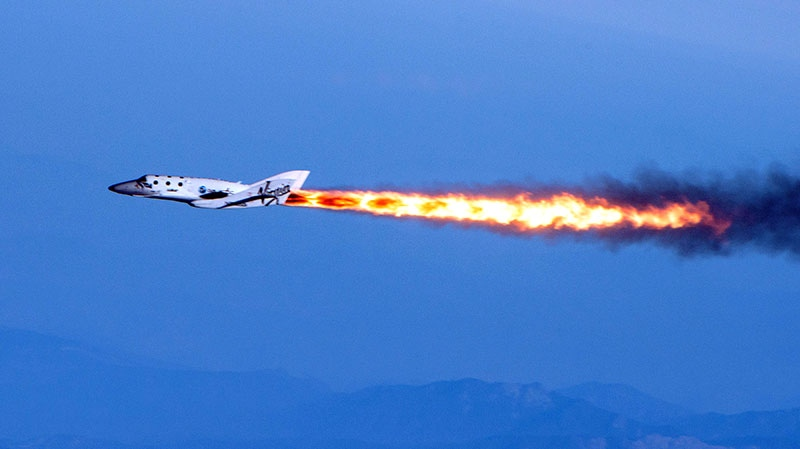 Virgin Galactic's SpaceShipTwo under rocket power is seen. The spacecraft was dropped from its 'mothership,' WhiteKnightTwo, over Mojave, Calif., on Monday, April 29, 2013. (Virgin Galactic / Mark Greenberg)