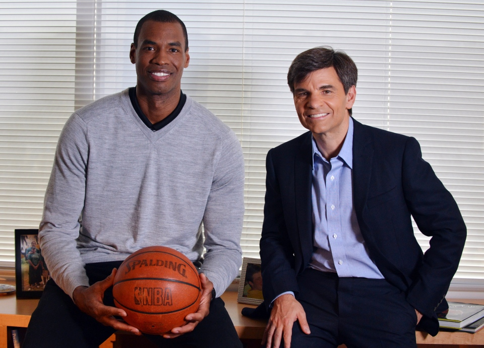 In this photo provided by ABC, NBA basketball veteran Jason Collins, left, poses for a photo with television journalist George Stephanopoulos, Monday, April 29, 2013, in Los Angeles. (AP / ABC, Eric McCandless)