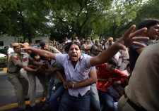 Protest in New Delhi, India on April 21, 2013.