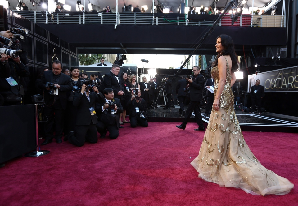 Actress Catherine Zeta-Jones arrives at the Oscars at the Dolby Theatre on Feb. 24, 2013, in Los Angeles. (AP Photo/Invision/Matt Sayles)