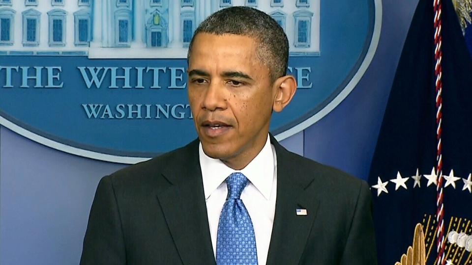 U.S. President Barack Obama speaks to the media about the violence in Syria in Washington on Tuesday, April 30, 2013.
