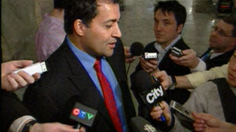 Dr. Raj Sherman addresses he media at the Alberta Legislature on March 8, 2011.