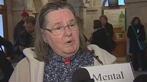 Jayne Whyte speaks to CTV News at a mental health rally at the Saskatchewan legislature in Regina on Tuesday.