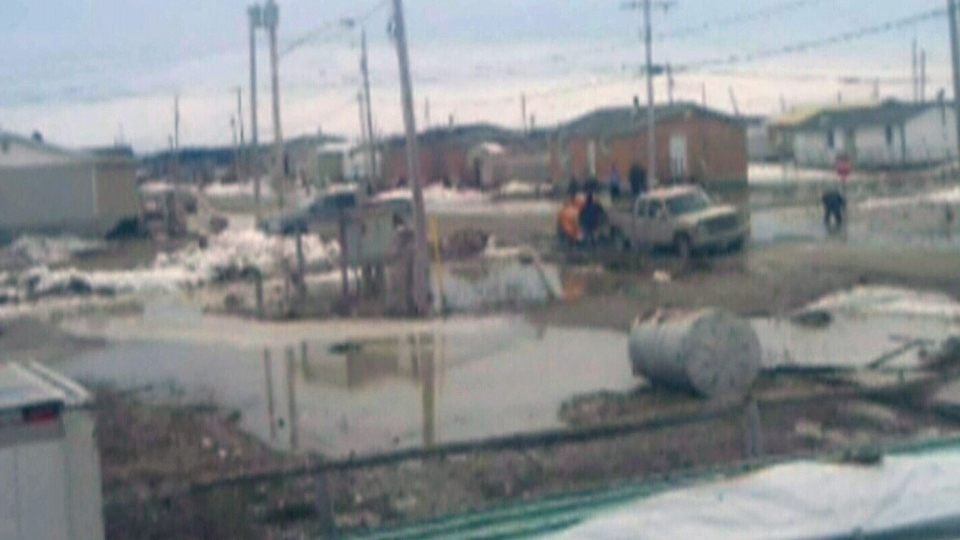 Rising sewage and flooding have forced evacuations in First Nations reserve Attawapiskat, Tuesday, April 30, 2013. (Courtesy Rosie Koostachin)