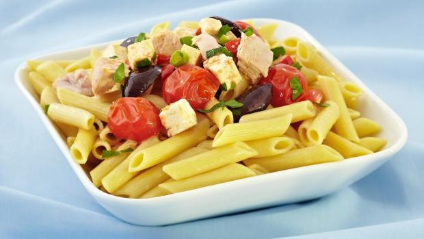 Penne Pasta with Tuna, Pimento, Olives, Tomato and Feta, Lemon Parsley ...