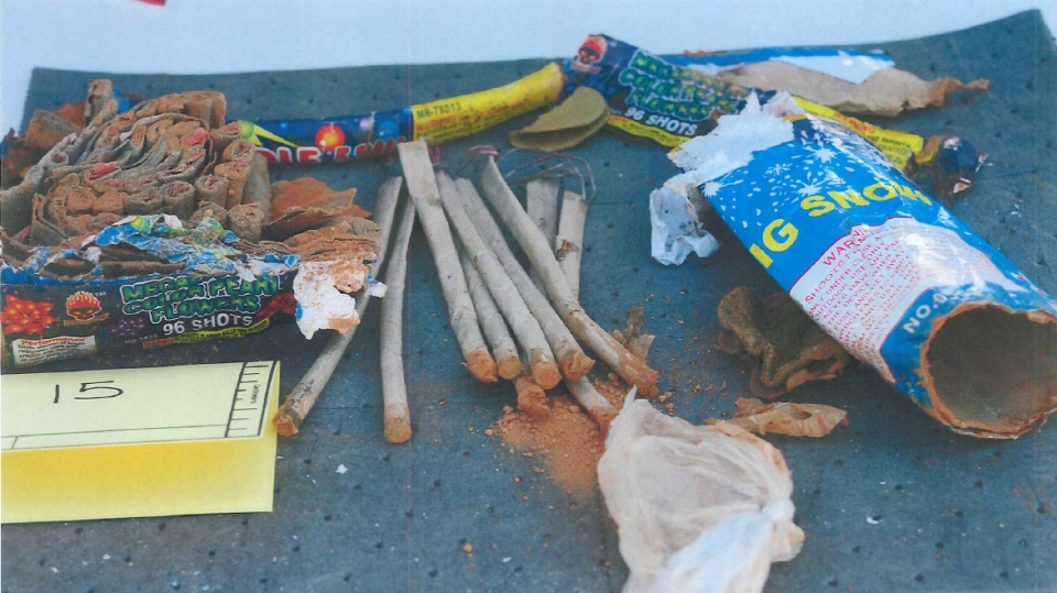 This FBI photo of fireworks was included in an affidavit in the investigation into the Boston Marathon bombing. The FBI says the fireworks were found in a backpack that belonged to suspect Dzhokhar Tsarnaev.