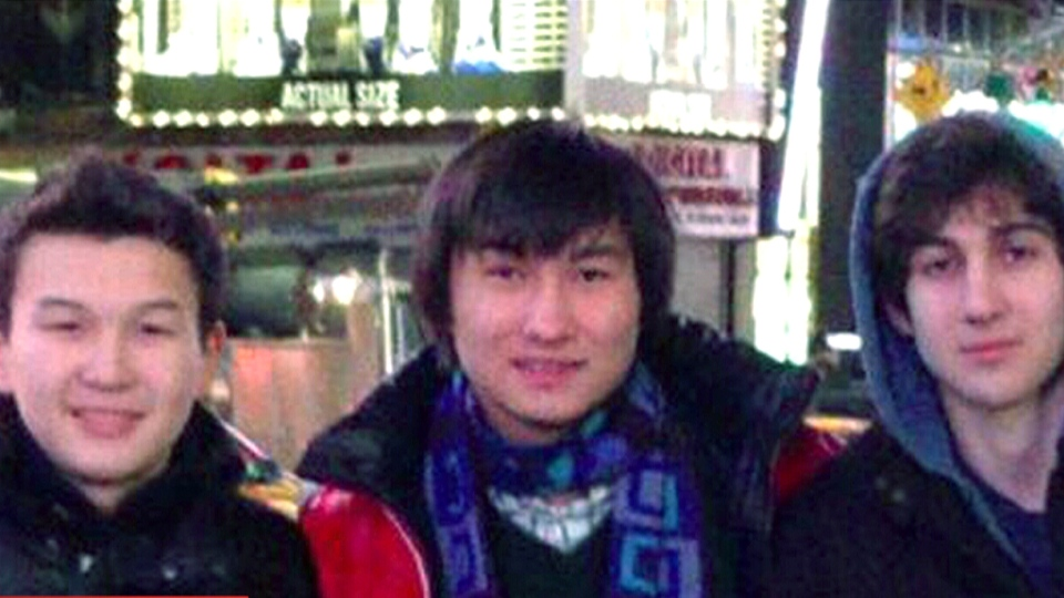 This undated photo from the VKontak page of Dias Kadyrbayev shows, from left, Azamat Tazhayakov and Dias Kadyrbayev, from Kazakhstan, with Boston Marathon bombing suspect Dzhokhar Tsarnaev in Times Square in New York (NBC News)