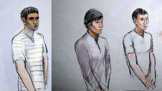 This combination courtroom sketch shows defendants Robel Phillipos, left, Dias Kadyrbayev, centre, and Azamat Tazhayakov appearing in front of Federal Magistrate Marianne Bowler at the Moakley Federal Courthouse in Boston, Mass., Wednesday, May 1, 2013. (AP/  Jane Flavell Collins)